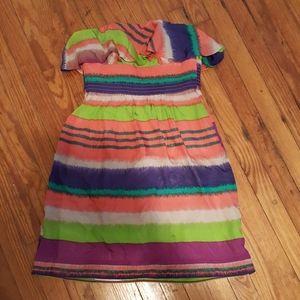 Shoshanna off the shoulder silk sheath dress